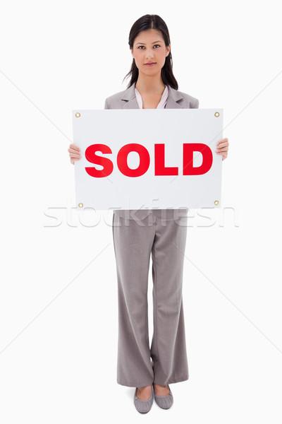 Vendido signo blanco casa Foto stock © wavebreak_media