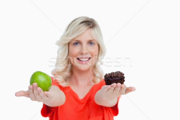 Vrouw appel hand chocolade Stockfoto © wavebreak_media