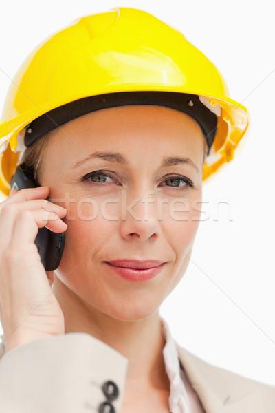 Portre işkadını telefon kask beyaz Stok fotoğraf © wavebreak_media