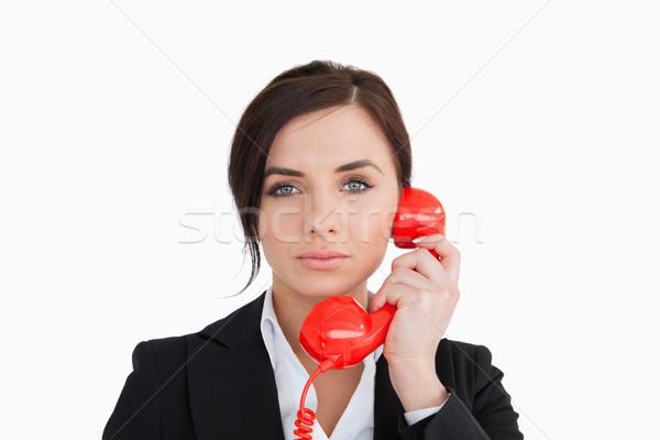 костюм красный набирать номер телефон белый Сток-фото © wavebreak_media