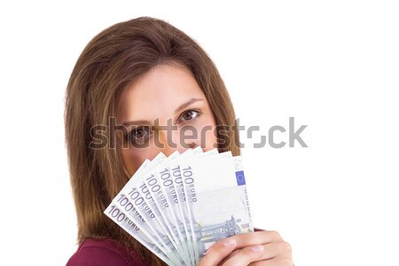 Mujer ocultación centro cara euros billetes Foto stock © wavebreak_media