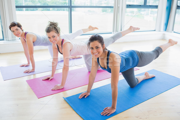 Women stretching on mats at yoga class in fitness studio Stock photo © wavebreak_media