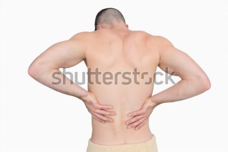 Foto stock: Sem · camisa · homem · dor · nas · costas · branco · mãos