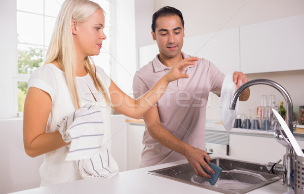 Couple washing dishes together Stock photo © wavebreak_media