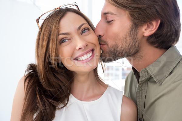 Férfi csók csinos nő arc arcszőrzet nő Stock fotó © wavebreak_media