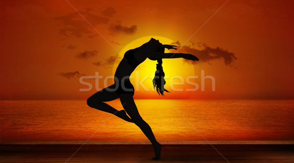 Composite image of side view of a sporty young woman stretching Stock photo © wavebreak_media