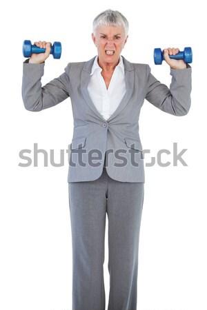 Retrato feliz altos hombre pesas Foto stock © wavebreak_media