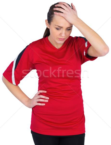 Stock fotó: Csalódott · futball · ventillátor · piros · fehér · energia