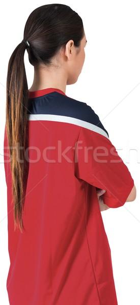 Football fan in red jersey Stock photo © wavebreak_media