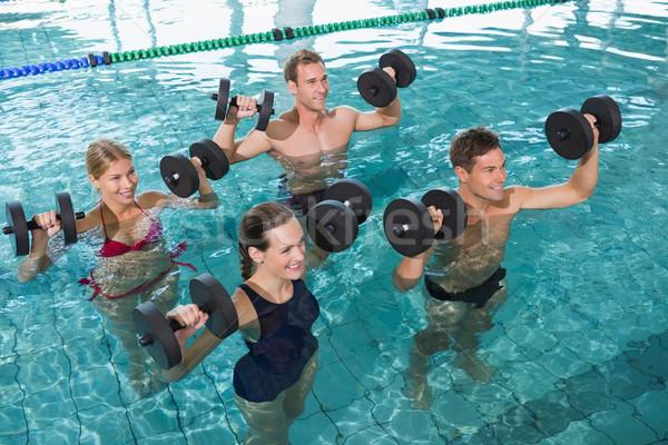 Feliz fitness clase agua aerobic espuma Foto stock © wavebreak_media