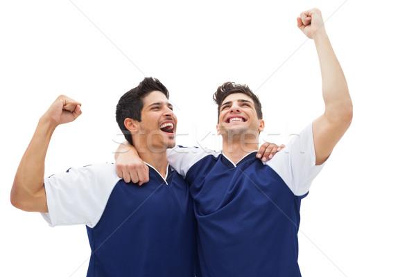 Stok fotoğraf: Futbol · oyuncular · kazanmak · beyaz · mutlu