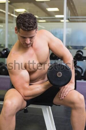 シャツを着ていない 筋肉の 男 行使 ダンベル 小さな ストックフォト © wavebreak_media