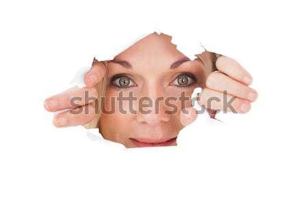 Kadın bakıyor yırtık kağıt beyaz kâğıt portre Stok fotoğraf © wavebreak_media