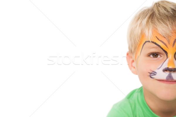 Gelukkig weinig jongen tijger gezicht verf Stockfoto © wavebreak_media