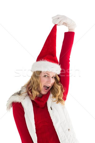 Jubel Frau hat weiß glücklich Stock foto © wavebreak_media