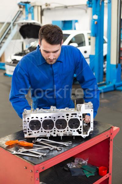 механиком рабочих двигатель ремонта гаража службе Сток-фото © wavebreak_media