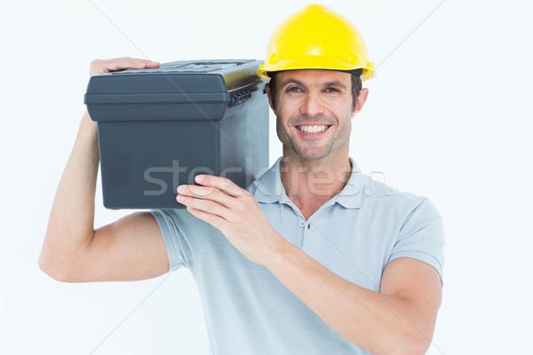 Glücklich Arbeitnehmer tragen Werkzeugkasten Schulter Porträt Stock foto © wavebreak_media