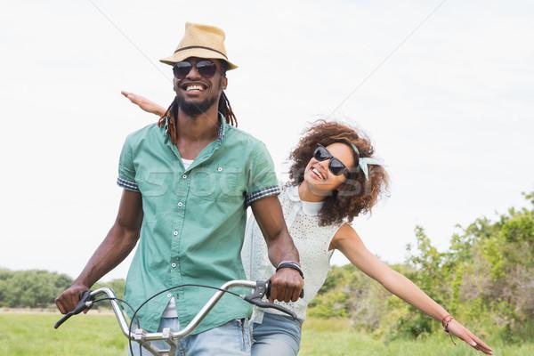 Bisiklet çim mutlu doğa Stok fotoğraf © wavebreak_media