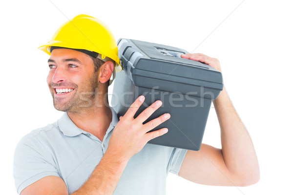 Klusjesman toolbox schouder witte man Stockfoto © wavebreak_media