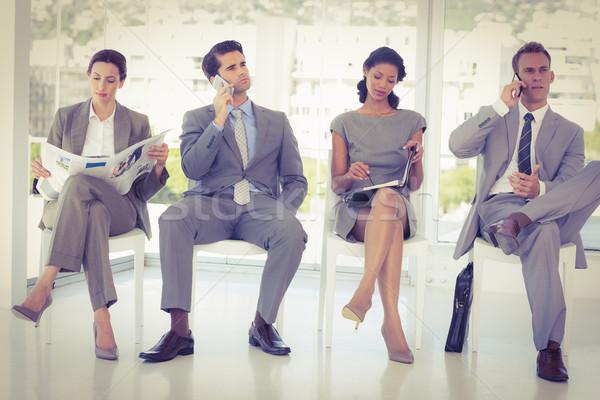 ビジネスの方々  座って 待って オフィス ビジネス 電話 ストックフォト © wavebreak_media