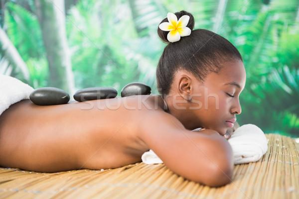 Foto d'archivio: Pretty · woman · caldo · pietra · massaggio