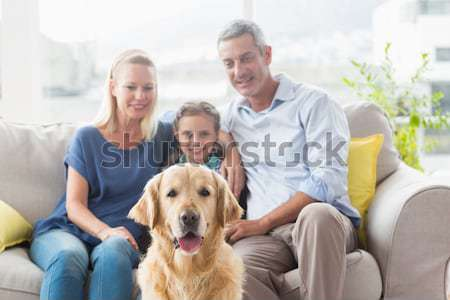 Parents and their children on sofa with labrador Stock photo © wavebreak_media