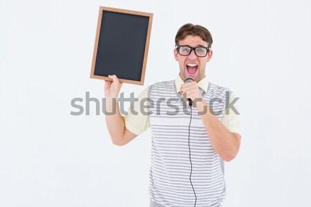 Hipszter pulóver mellény tánc fehér boldog Stock fotó © wavebreak_media
