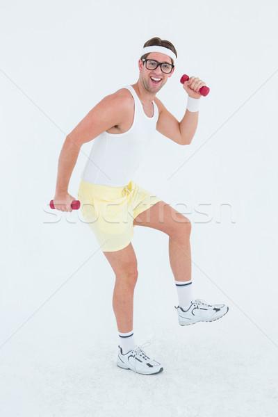 Hipszter emel súlyzók sportruha fehér boldog Stock fotó © wavebreak_media