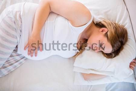 Stock fotó: Terhes · nő · alszik · ágy · otthon · ház · terhes