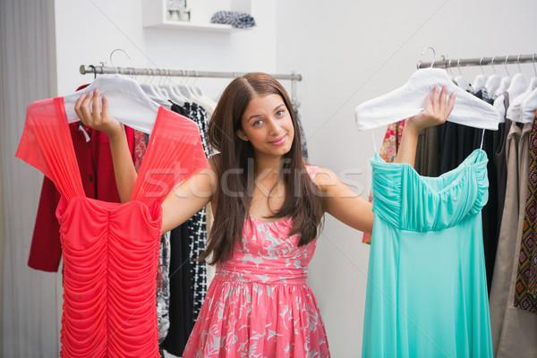 Portre kadın zorluklar elbise butik Stok fotoğraf © wavebreak_media