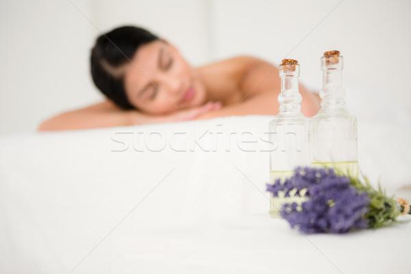 Foco dois óleo de massagem garrafas lavanda cara Foto stock © wavebreak_media