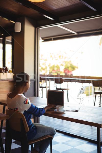 Nő laptopot használ kávé étterem internet laptop Stock fotó © wavebreak_media