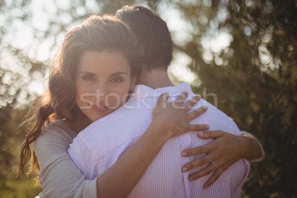 Portré fiatal nő ölel fiúbarát olajbogyó farm Stock fotó © wavebreak_media