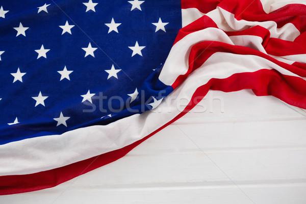 Amerikai zászló fa asztal közelkép zászló ital fehér Stock fotó © wavebreak_media