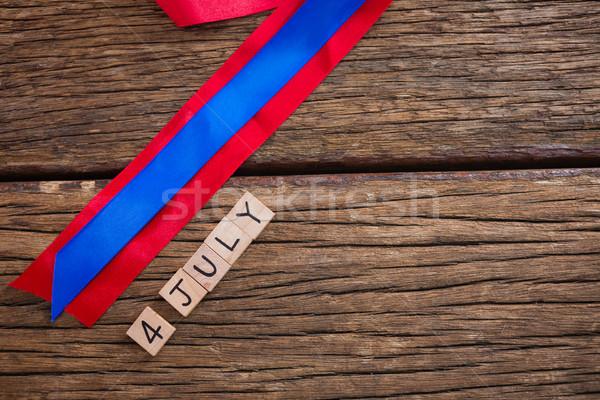 Randevú kockák piros kék szalag asztal Stock fotó © wavebreak_media