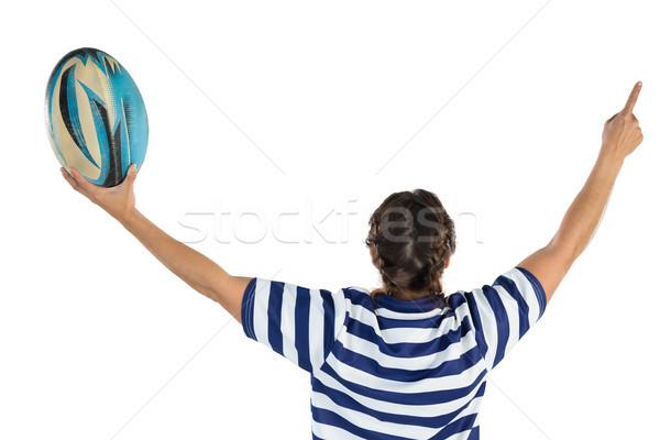 Rückansicht weiblichen Rugby Spieler weiß Stock foto © wavebreak_media