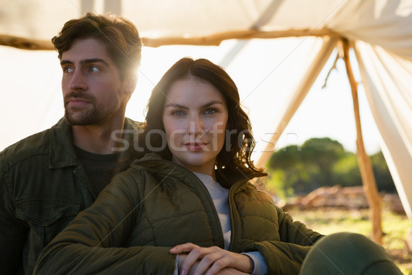 Portret kobieta człowiek namiot młoda kobieta relaks Zdjęcia stock © wavebreak_media
