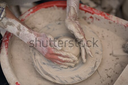 Male potter assisting girl in molding a clay Stock photo © wavebreak_media