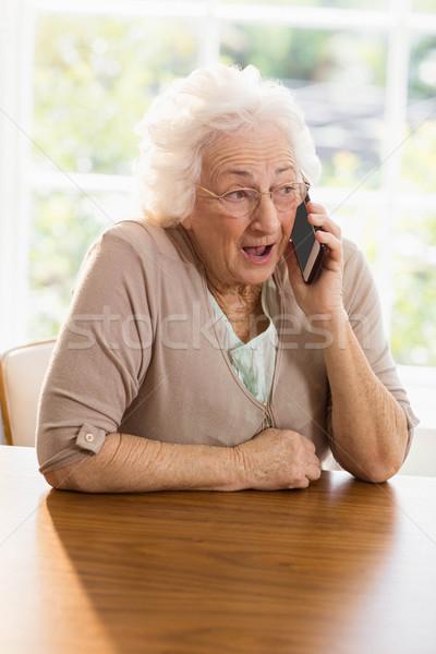 Téléphone appelant maison femme maison Photo stock © wavebreak_media
