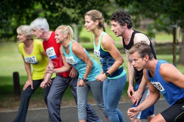 Marathon athletes on the starting line Stock photo © wavebreak_media