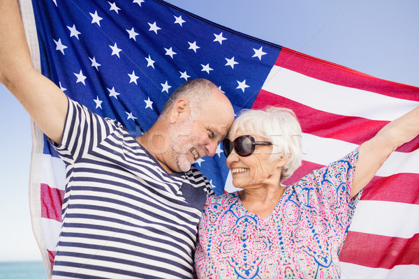Casal de idosos bandeira americana juntos praia mulher Foto stock © wavebreak_media