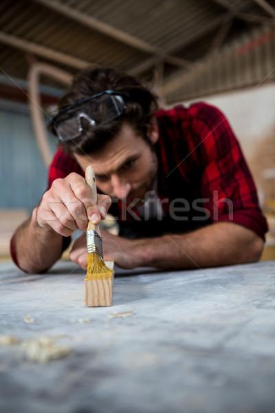 Marangoz boyama parça ahşap atölye adam Stok fotoğraf © wavebreak_media