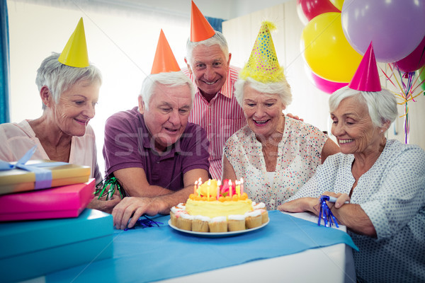 Group of seniors celebrating a birthday Stock photo © wavebreak_media