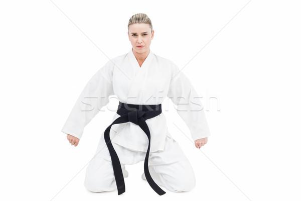 Vrouwelijke atleet oefenen judo witte vrouw Stockfoto © wavebreak_media