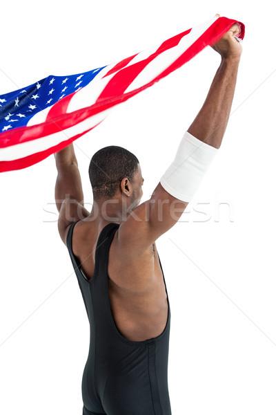спортсмена позируют американский флаг победу белый флаг Сток-фото © wavebreak_media