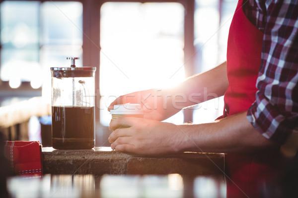Mid section of waiter preparing coffee Stock photo © wavebreak_media