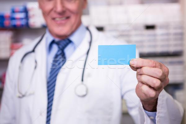 Foto stock: Farmacéutico · prescripción · farmacia · papel · hombre
