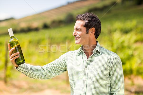 Smiling vintner looking at bottle of wine Stock photo © wavebreak_media