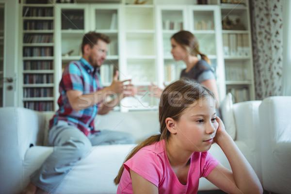 Triest meisje luisteren ouders ruzie home Stockfoto © wavebreak_media