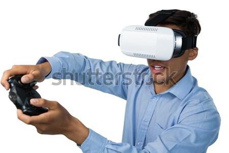 Uomo virtuale realtà auricolare bianco divertimento Foto d'archivio © wavebreak_media